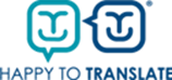 happy to translate logo blue